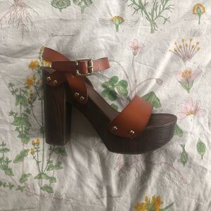 Retro Brown Platform Heels